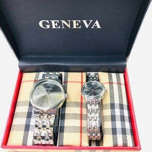 GENEVA Men and Womens Watches, Silver, New in Case